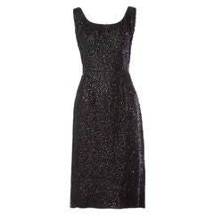 Vintage 1960s Black Silk + Sequin Cocktail Sheath Dress