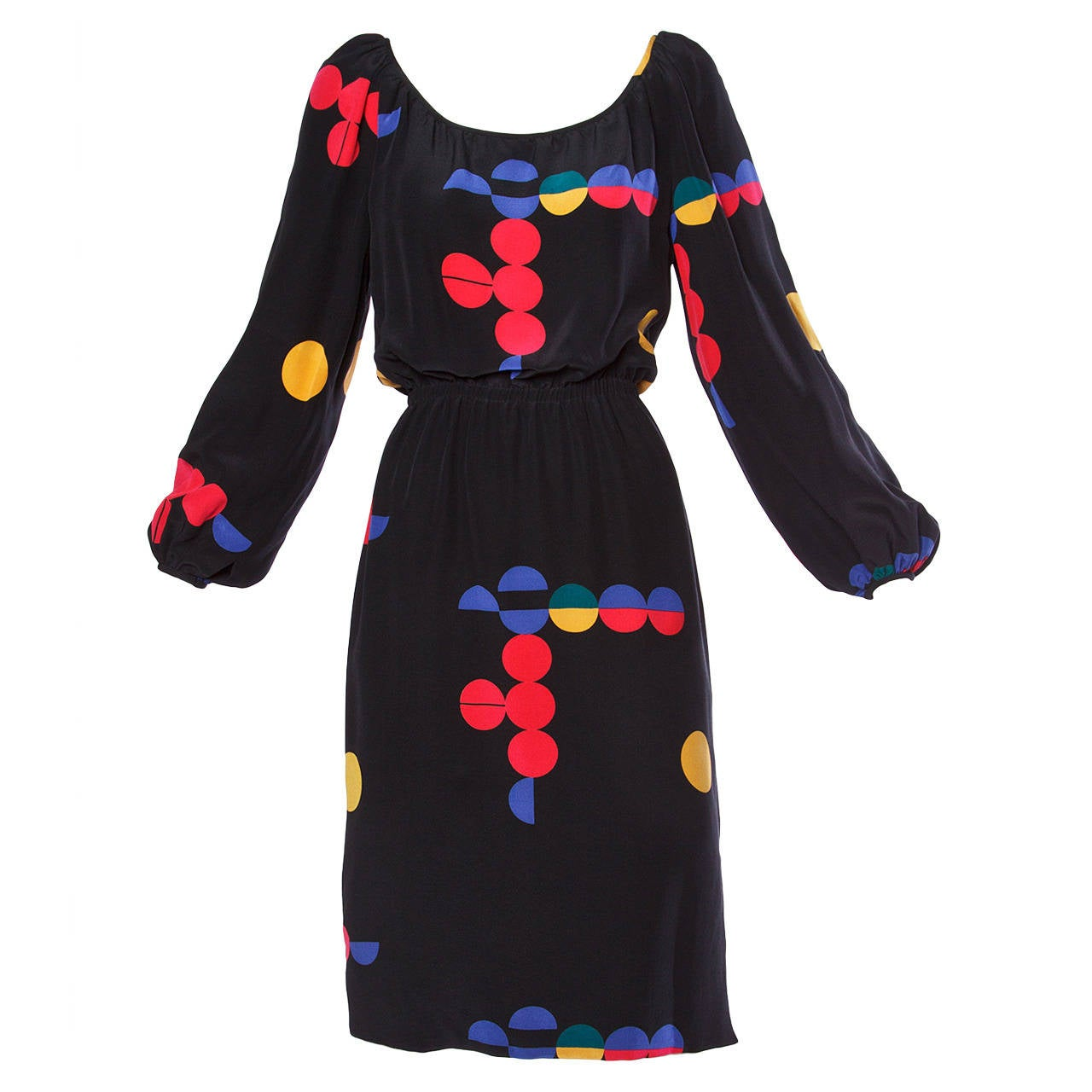 Michael Novarese Vintage 1970s Colorful Geometric Print Silk Dress