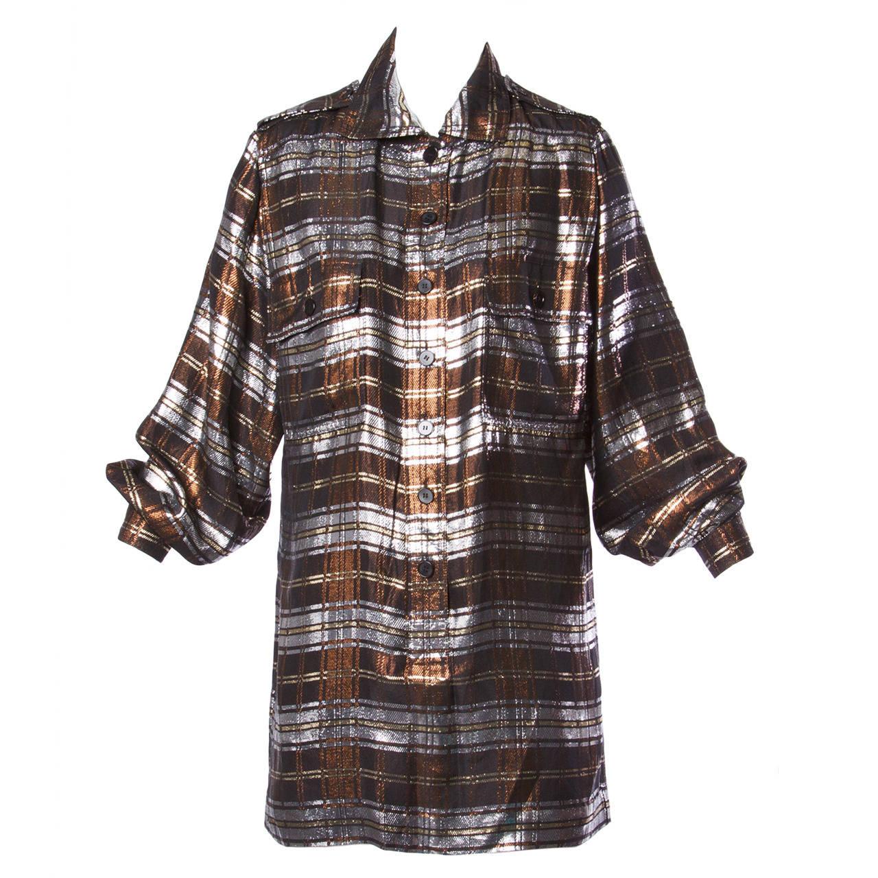 Jean Louis Scherrer Vintage 1980s Metallic Silk Plaid Shirt Dress or Tunic