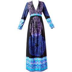 Bullock's Wilshire Vintage 1970s Border Print Starburst Maxi Dress