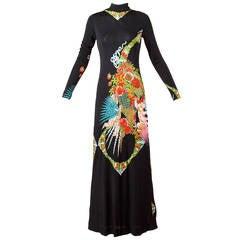 Rizkallah for Malcolm Starr Vintage 1970s 70s Asian Print Silk Jersey Maxi Dress