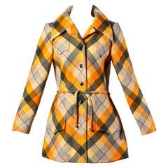 1970s Andre Laug Vintage Plaid Wool Jacket or Coat