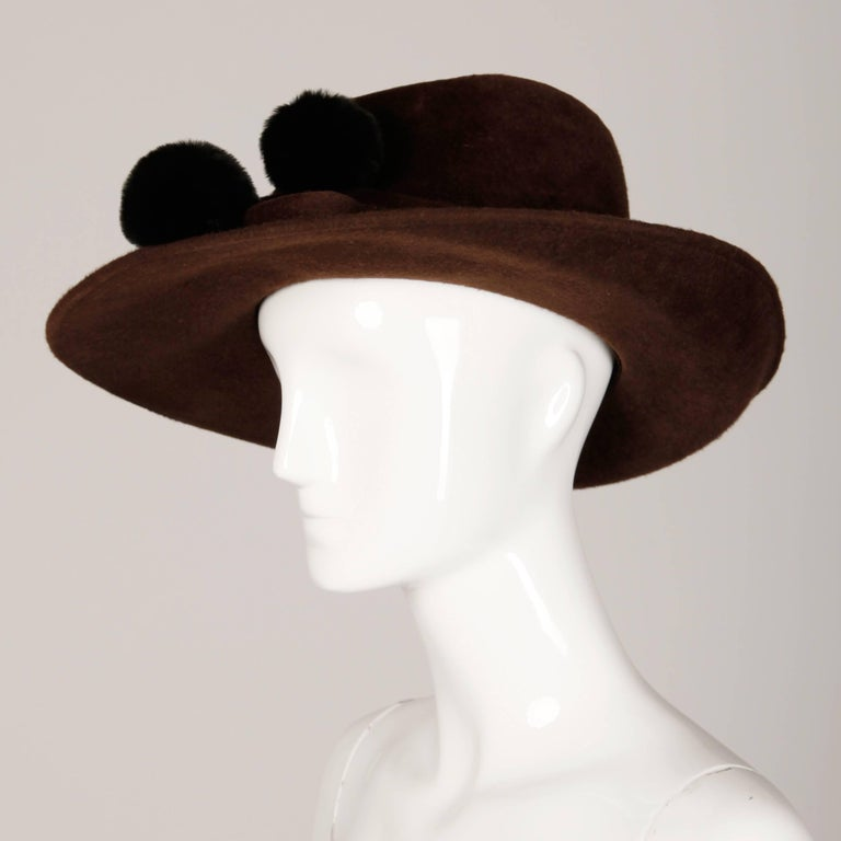 Unworn with Tags Bailey Tomlin Vintage Brown Wool Hat with Black Fur Pom Poms  For Sale 1