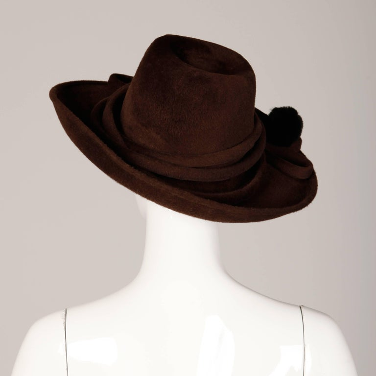 Unworn with Tags Bailey Tomlin Vintage Brown Wool Hat with Black Fur Pom Poms  For Sale 2