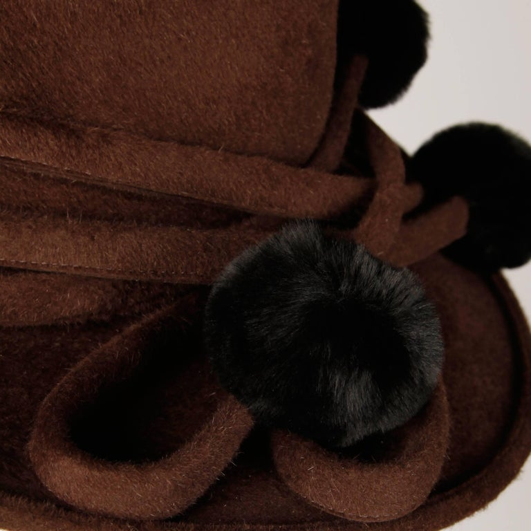 Unworn with Tags Bailey Tomlin Vintage Brown Wool Hat with Black Fur Pom Poms  For Sale 3
