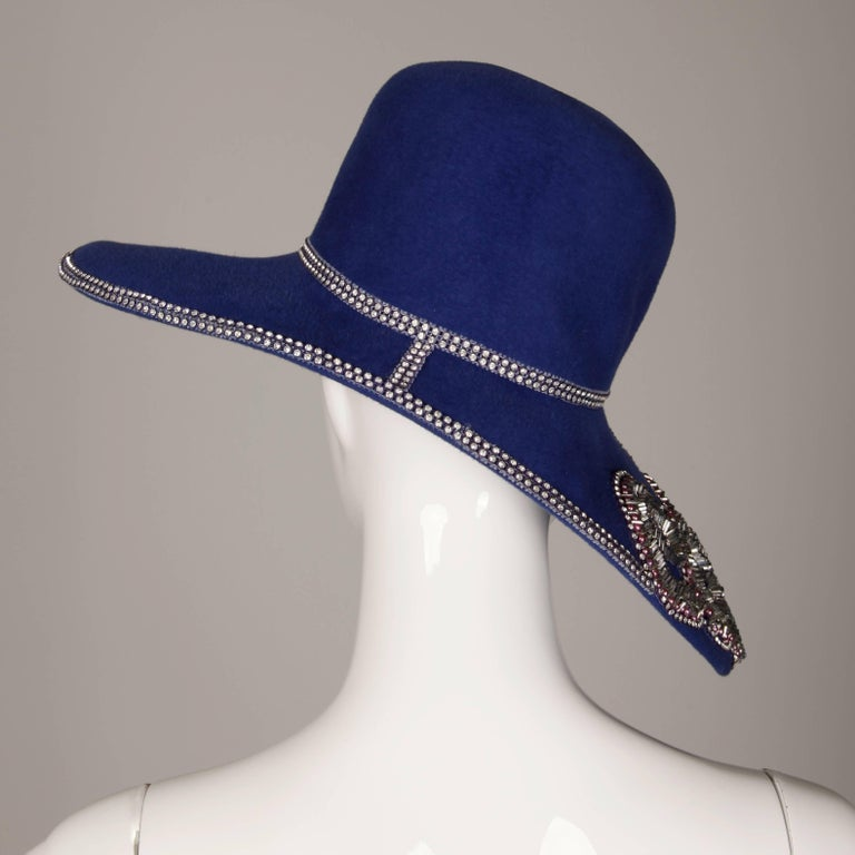Unworn with Tags Eve Andrea Vintage Blue Rhinestone + Beaded Hat 7