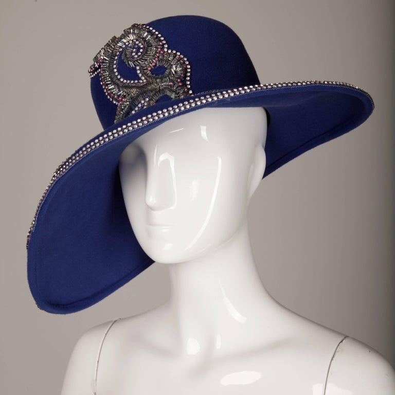 Unworn with Tags Eve Andrea Vintage Blue Rhinestone + Beaded Hat 4