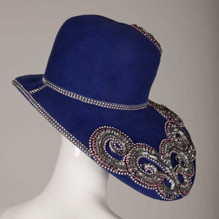 Unworn with Tags Eve Andrea Vintage Blue Rhinestone + Beaded Hat 6