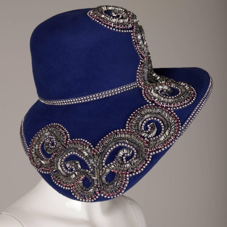 Unworn with Tags Eve Andrea Vintage Blue Rhinestone + Beaded Hat 5