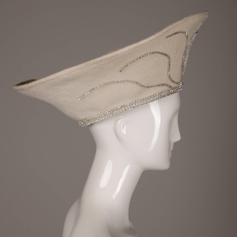 Unworn with Tags George Zamau'l Couture Vintage Hat with Rhinestones + Beading For Sale 1