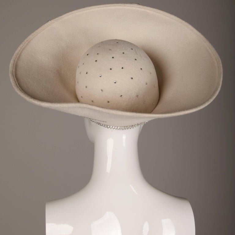 Unworn with Tags George Zamau'l Couture Vintage Hat with Rhinestones + Beading For Sale 2