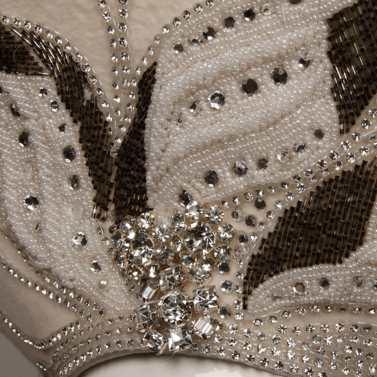Unworn with Tags George Zamau'l Couture Vintage Hat with Rhinestones + Beading For Sale 3