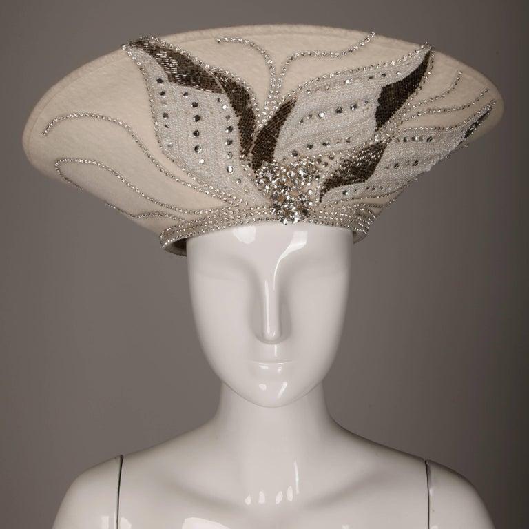 Brown Unworn with Tags George Zamau'l Couture Vintage Hat with Rhinestones + Beading For Sale