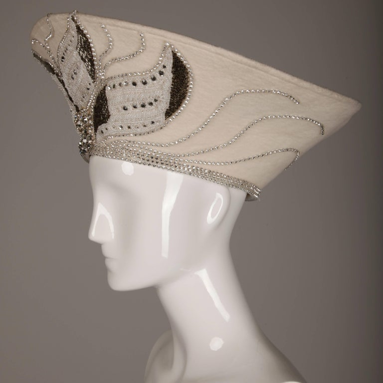 Women's Unworn with Tags George Zamau'l Couture Vintage Hat with Rhinestones + Beading For Sale