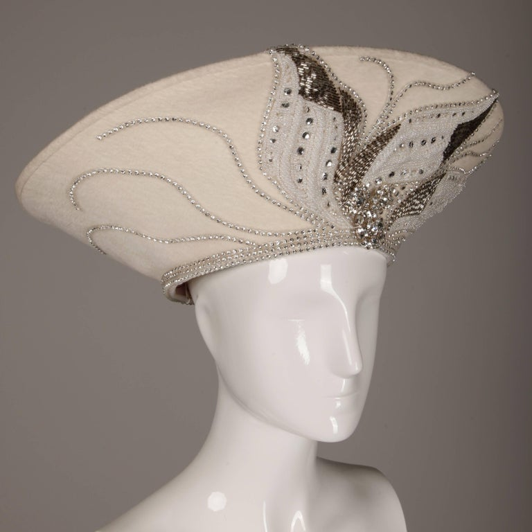 Unworn with Tags George Zamau'l Couture Vintage Hat with Rhinestones + Beading In New Condition For Sale In Sparks, NV