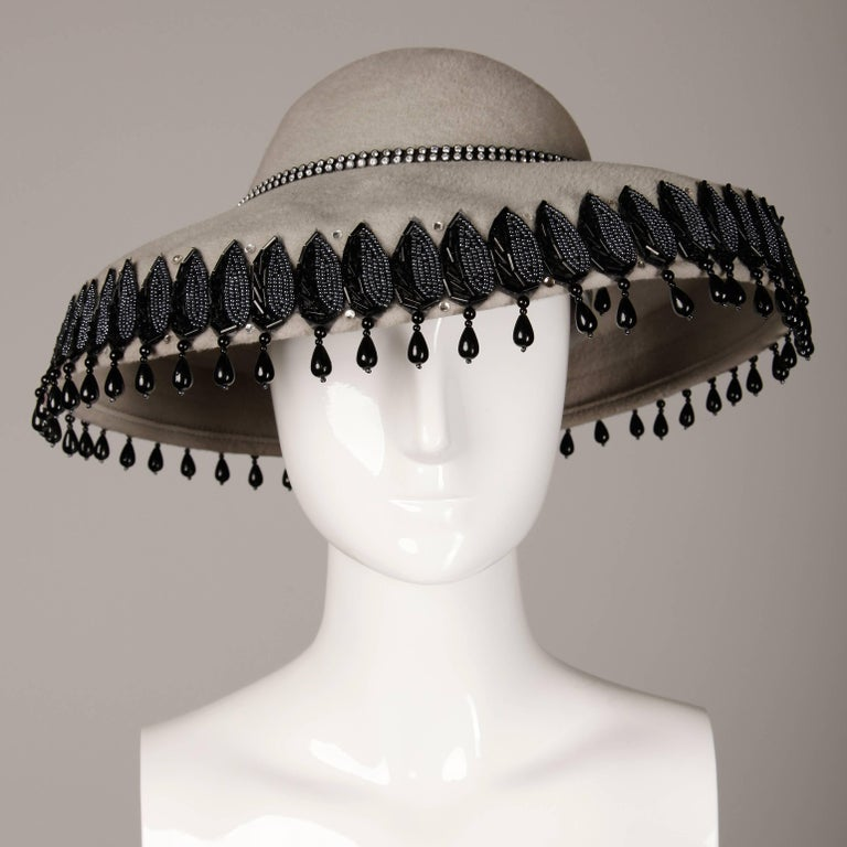 Unworn with Tags Vintage Makins New York Gray Hat with Beading + Rhinestones In New Condition For Sale In Sparks, NV