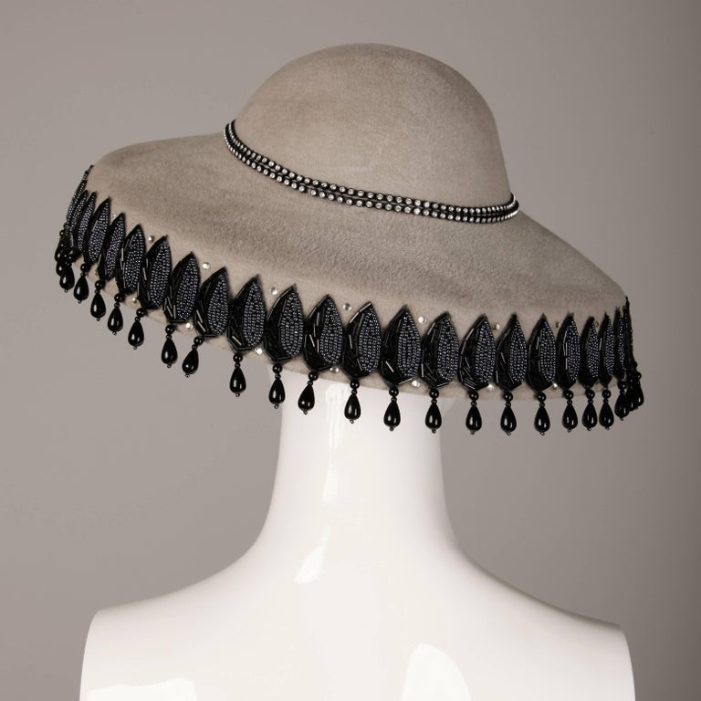 Unworn with Tags Vintage Makins New York Gray Hat with Beading + Rhinestones For Sale 1