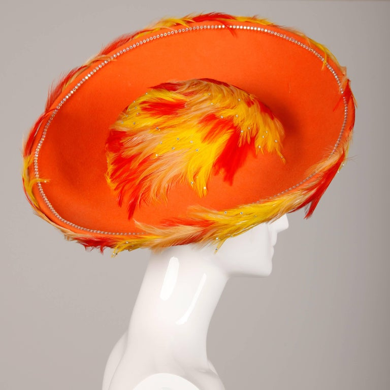Rare Unworn Vintage Jack McConnell Yellow + Orange Feather Hat with Rhinestones In New Condition For Sale In Sparks, NV
