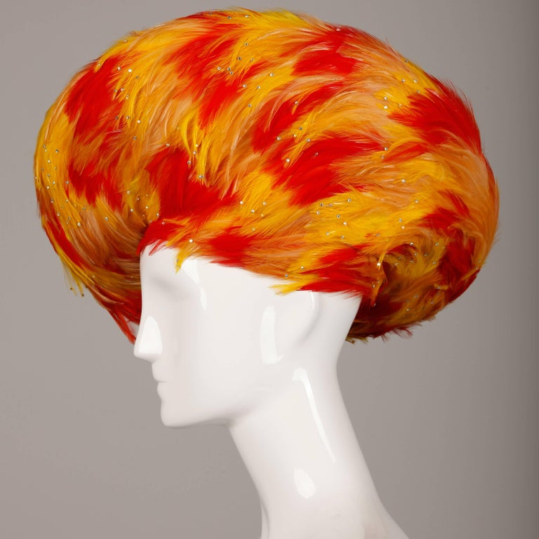 Rare Unworn Vintage Jack McConnell Yellow + Orange Feather Hat with Rhinestones For Sale 1