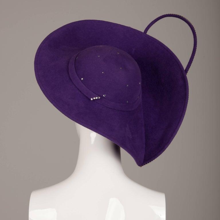 Women's George Zamau'l Vintage Avant Garde Purple Rhinestone Wool Hat Unworn with Tags  For Sale