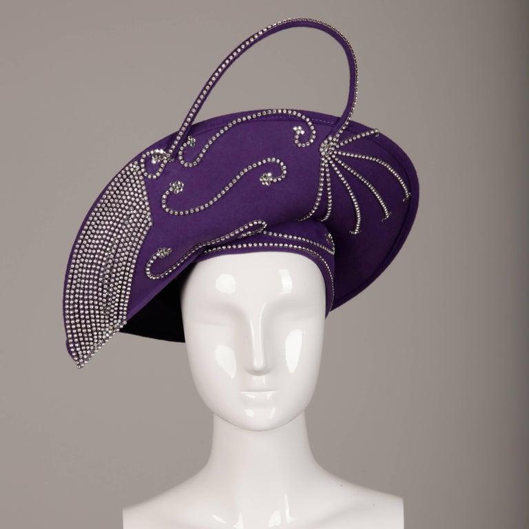 Black George Zamau'l Vintage Avant Garde Purple Rhinestone Wool Hat Unworn with Tags  For Sale