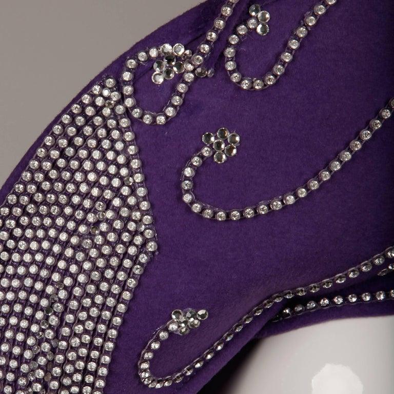 George Zamau'l Vintage Avant Garde Purple Rhinestone Wool Hat Unworn with Tags  For Sale 2