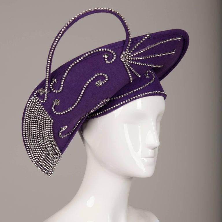George Zamau'l Vintage Avant Garde Purple Rhinestone Wool Hat Unworn with Tags  In New Condition For Sale In Sparks, NV