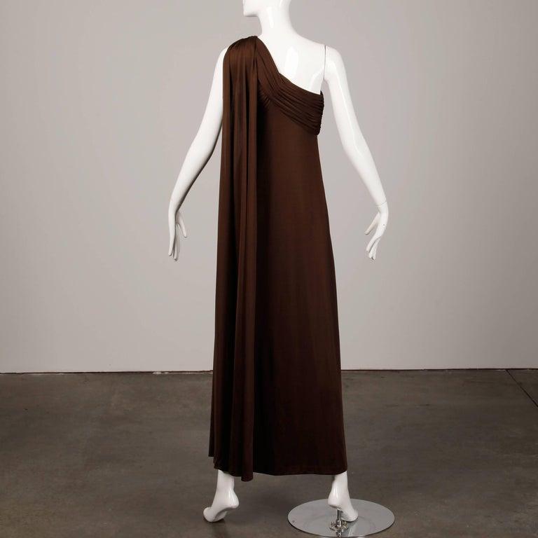 Estevez Vintage 1970s Brown Slinky Jersey Knit One Shoulder Maxi Dress/ Gown 4