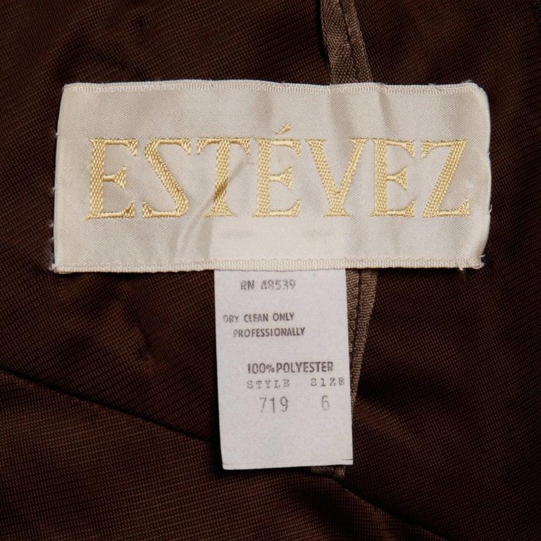 Estevez Vintage 1970s Brown Slinky Jersey Knit One Shoulder Maxi Dress/ Gown 6