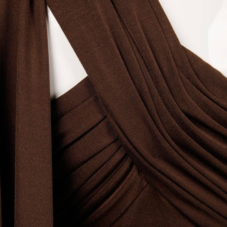 Estevez Vintage 1970s Brown Slinky Jersey Knit One Shoulder Maxi Dress/ Gown 5
