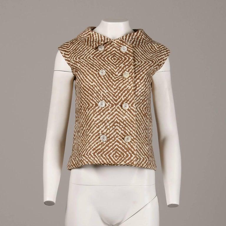 1960s Geoffrey Beene Vintage Brown 3-Piece Linen Skirt, Vest, Belt Suit Ensemble For Sale 1