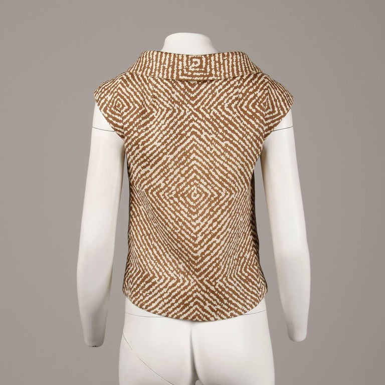 1960s Geoffrey Beene Vintage Brown 3-Piece Linen Skirt, Vest, Belt Suit Ensemble For Sale 2
