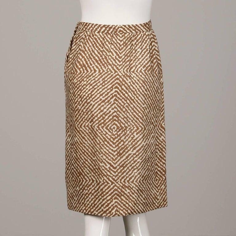 1960s Geoffrey Beene Vintage Brown 3-Piece Linen Skirt, Vest, Belt Suit Ensemble For Sale 4