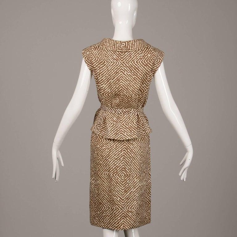 Women's 1960s Geoffrey Beene Vintage Brown 3-Piece Linen Skirt, Vest, Belt Suit Ensemble For Sale