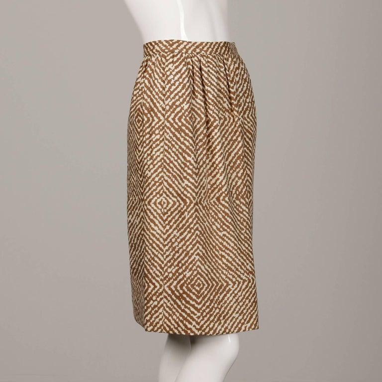 1960s Geoffrey Beene Vintage Brown 3-Piece Linen Skirt, Vest, Belt Suit Ensemble For Sale 3