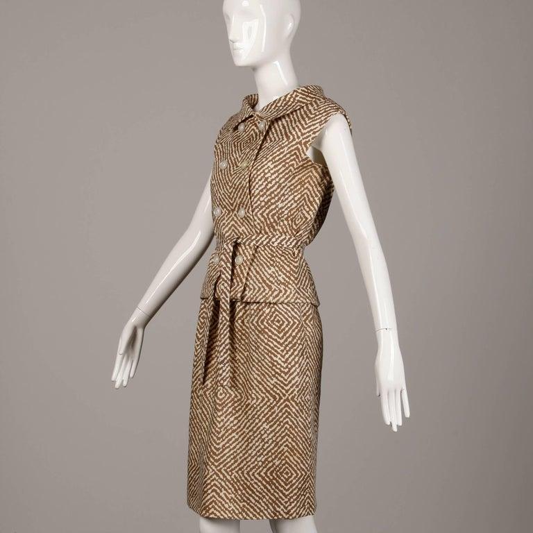 1960s Geoffrey Beene Vintage Brown 3-Piece Linen Skirt, Vest, Belt Suit Ensemble In Excellent Condition For Sale In Sparks, NV