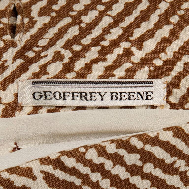 1960s Geoffrey Beene Vintage Brown 3-Piece Linen Skirt, Vest, Belt Suit Ensemble For Sale 6