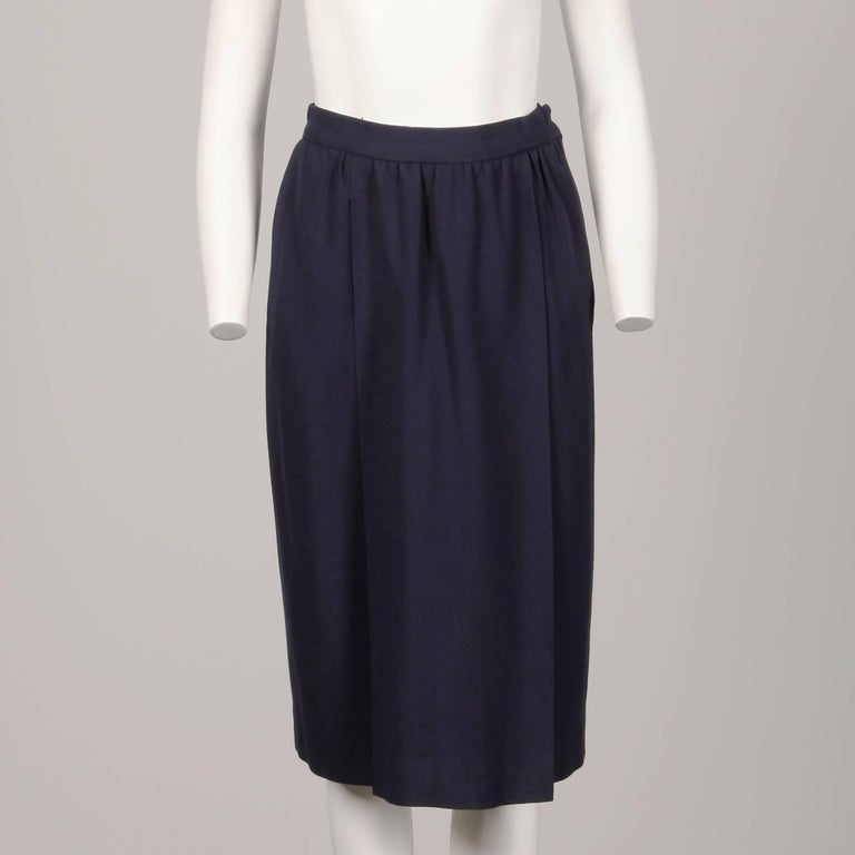 Women's 1970s Donald Brooks Vintage Navy Blue Wool Jacket + Skirt Suit Ensemble For Sale