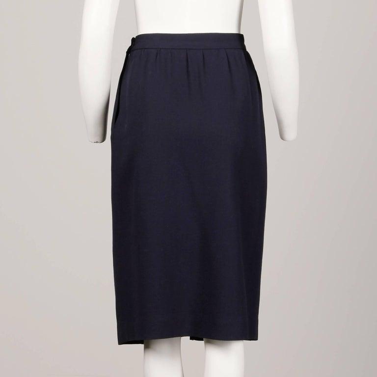 1970s Donald Brooks Vintage Navy Blue Wool Jacket + Skirt Suit Ensemble For Sale 2