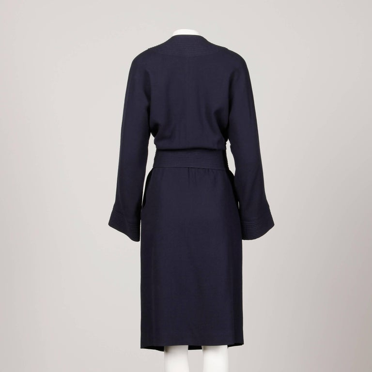 1970s Donald Brooks Vintage Navy Blue Wool Jacket + Skirt Suit Ensemble In Excellent Condition For Sale In Sparks, NV