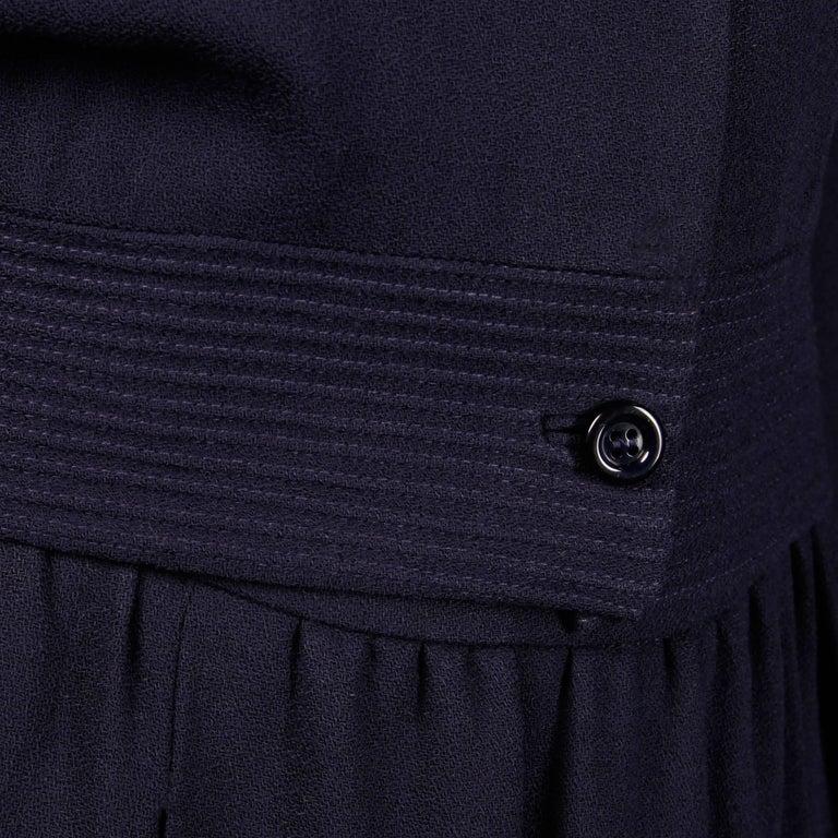 1970s Donald Brooks Vintage Navy Blue Wool Jacket + Skirt Suit Ensemble For Sale 3