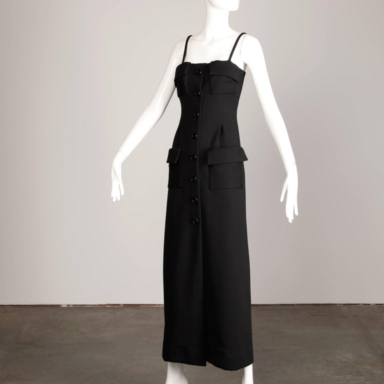 1970s Geoffrey Beene Vintage Black Wool Button Up Maxi Dress In Excellent Condition For Sale In Sparks, NV