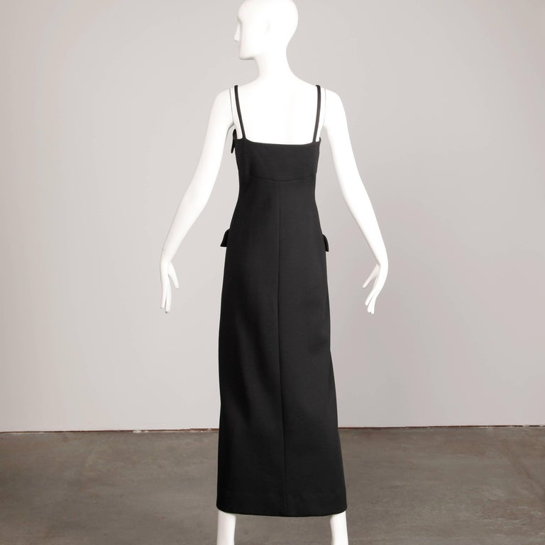 Women's 1970s Geoffrey Beene Vintage Black Wool Button Up Maxi Dress For Sale