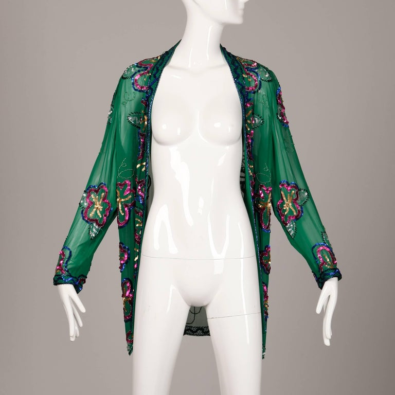 1980s Fabrice Vintage Green Sheer Silk Sequin + Beaded Jacket or Cardigan 2