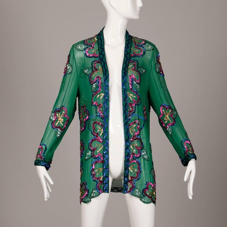 1980s Fabrice Vintage Green Sheer Silk Sequin + Beaded Jacket or Cardigan 3