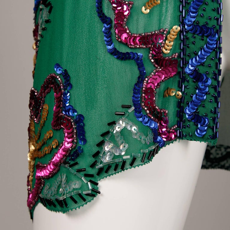 1980s Fabrice Vintage Green Sheer Silk Sequin + Beaded Jacket or Cardigan 6