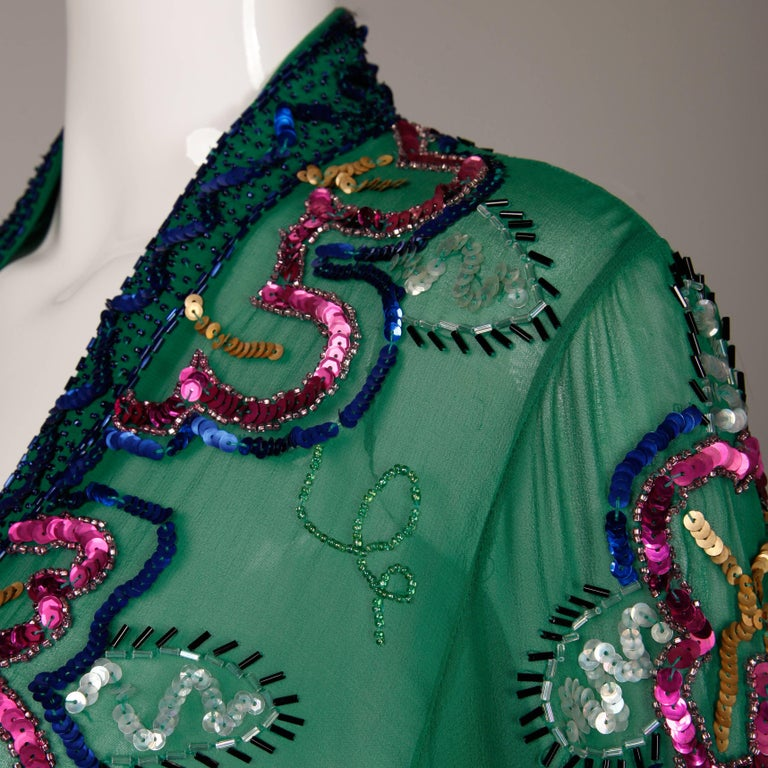1980s Fabrice Vintage Green Sheer Silk Sequin + Beaded Jacket or Cardigan 7