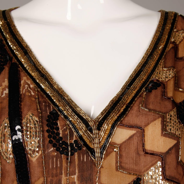 Judith Ann Vintage Sequin + Beaded Brown Block Printed Silk Top or Shirt 5