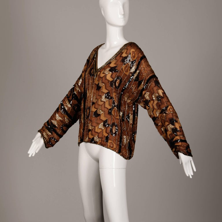 Judith Ann Vintage Sequin + Beaded Brown Block Printed Silk Top or Shirt In Excellent Condition For Sale In Sparks, NV