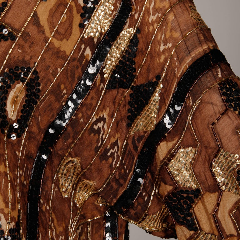 Judith Ann Vintage Sequin + Beaded Brown Block Printed Silk Top or Shirt For Sale 2